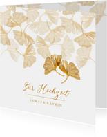 Glückwunschkarte Hochzeit Ginkgoblätter