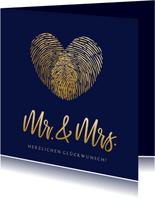 Glückwunschkarte Hochzeit Mr. & Mrs. Fingerabdruck