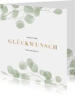 Glückwunschkarte Hochzeit transparente Blätter