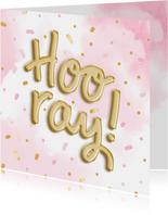 Glückwunschkarte 'Hooray' Folienballons rosa