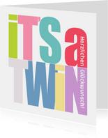 Glückwunschkarte 'It's a twin'