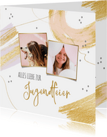 Glückwunschkarte Jugendfeier Fotocollage & Pinselstriche