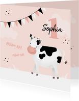 Glückwunschkarte Kindergeburtstag freundliche Kuh rosa