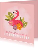 Glückwunschkarte Kommunion Flamingo & Blumen