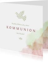 Glückwunschkarte Kommunion Taube rosa & grün