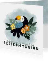 Glückwunschkarte Kommunion Tukan & Blumen
