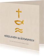Glückwunschkarte Konfirmation Kreuz, Fisch, Wasser