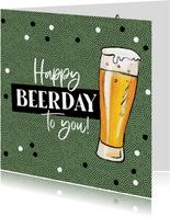 Glückwunschkarte mit Bier 'Happy Beerday'