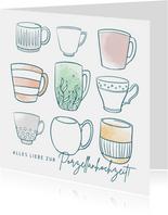 Glückwunschkarte Porzellanhochzeit Tassen