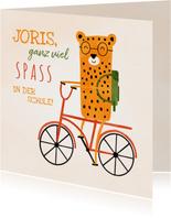 Glückwunschkarte Schulkind Leopard auf Fahrrad