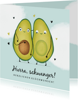 Glückwunschkarte schwanger Avocado