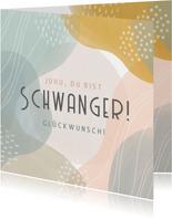 Glückwunschkarte schwanger grafisch pastell