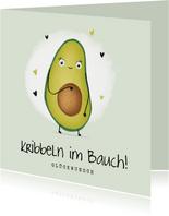 Glückwunschkarte Schwangerschaft Kribbeln im Bauch Avocado
