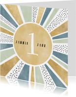 Glückwunschkarte Sonnenstrahlen und Punkte