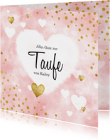 Glückwunschkarte Taufe Herzen rosa