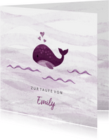 Glückwunschkarte Taufe kleiner Wal rosé
