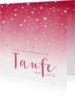 Glückwunschkarte Taufe rosa Herzen