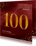 Glückwunschkarte zum 100. Geburtstag Goldzahl