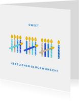 Glückwunschkarte zum 16. Geburtstag mit blauen Kerzen