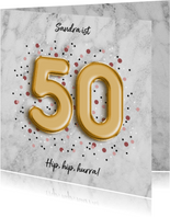Glückwunschkarte zum 50. Geburtstag Marmor & goldene 50