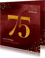 Glückwunschkarte zum 75. Geburtstag Goldzahl