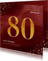 Glückwunschkarte zum 80. Geburtstag Goldzahl