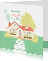 Glückwunschkarte zum Einzug mit Haus im Grünen