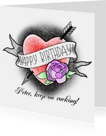 Glückwunschkarte zum Geburtstag Herz-Tattoo