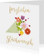Glückwunschkarte zum Geburtstag mit Blumenstrauß