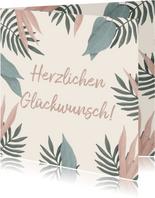 Glückwunschkarte zum Geburtstag mit Foto und Blättern