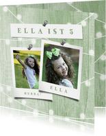 Glückwunschkarte zum Geburtstag mit Fotos & Lichterkette