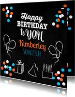 Glückwunschkarte zum Geburtstag mit Konfetti und Luftballons