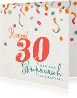 Glückwunschkarte zum Geburtstag Ziffer und Konfetti