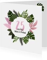 Glückwunschkarte zum Hochzeitstag mit Foto & Pflanzen