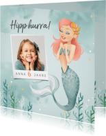 Glückwunschkarte zum Kindergeburtstag Meerjungfrau und Foto