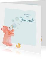 Glückwunschkarte zur Geburt Bär mit Seifenblasen