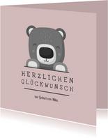 Glückwunschkarte zur Geburt Bär rosa