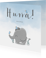 Glückwunschkarte zur Geburt blau mit Elefant und Vögeln