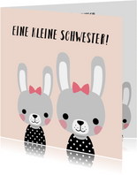 Glückwunschkarte zur Geburt einer Schwester mit Hasen