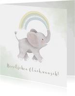 Glückwunschkarte zur Geburt Elefant grün