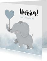 Glückwunschkarte zur Geburt Elefant mit Herzluftballon