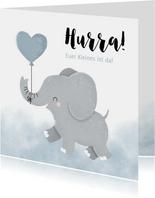 Glückwunschkarte zur Geburt Elefant mit Luftballon
