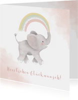 Glückwunschkarte zur Geburt Elefant rosa