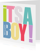 Glückwunschkarte zur Geburt It's a boy Typografie
