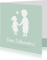 Glückwunschkarte zur Geburt kleine Schwester großer Bruder