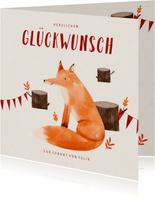 Glückwunschkarte zur Geburt kleiner Fuchs