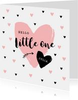 Glückwunschkarte zur Geburt Little one rosa Herz