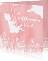 Glückwunschkarte zur Geburt Mädchen auf Schaukel