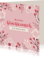 Glückwunschkarte zur Geburt Mädchen rosa Blumen
