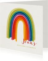 Glückwunschkarte zur Geburt mit Regenbogen